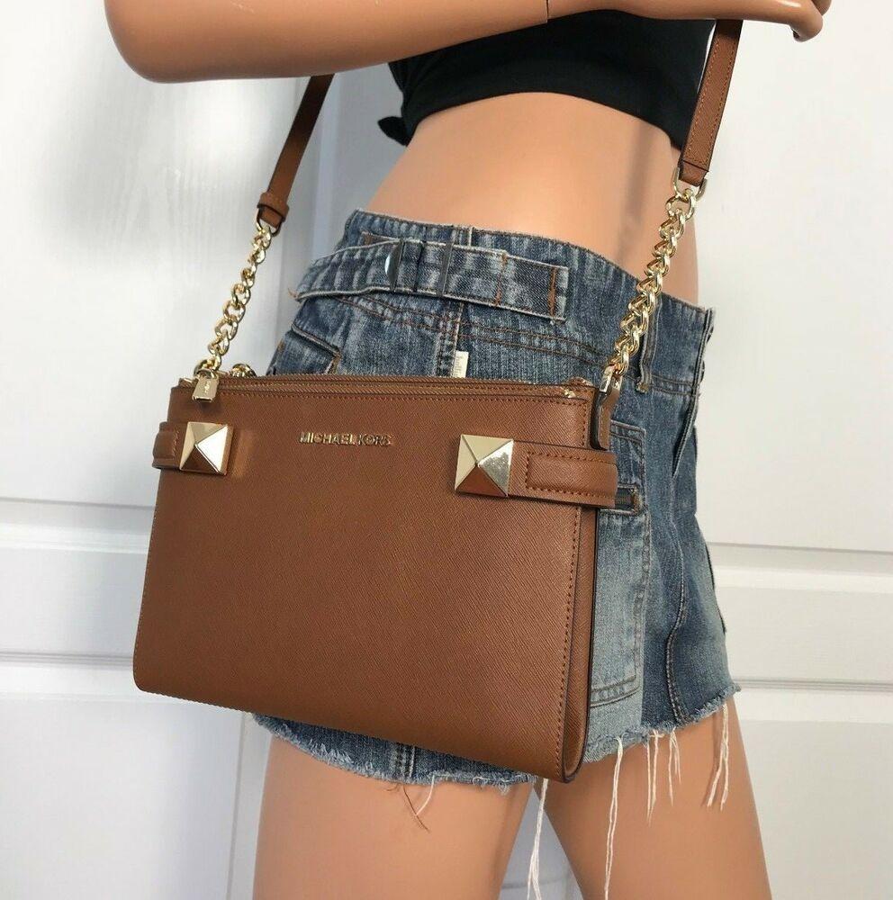 83a77218ab81c NWT Michael Kors Small Brown Luggage East West Leather Crossbody Bag Handbag   MichaelMichaelKors  HandbagShoulderCrossBody