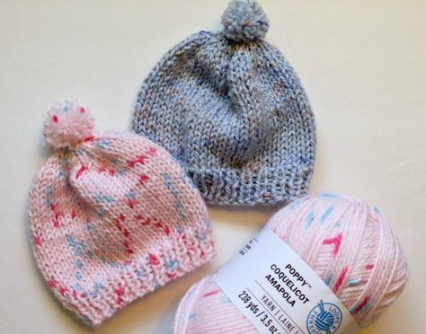 7e25603e717 Free Knitting Pattern - Quick Knit Newborn Baby Hat. Easy for beginners too!