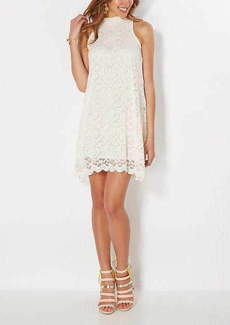 39590086309 Ivory High Neck Lace Shift Dress