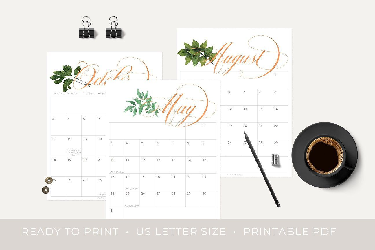 Natural Copper Monthly Planner Pages Calendar Pages