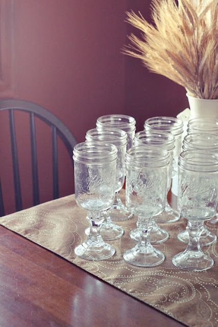 mason jars, candle sticks.