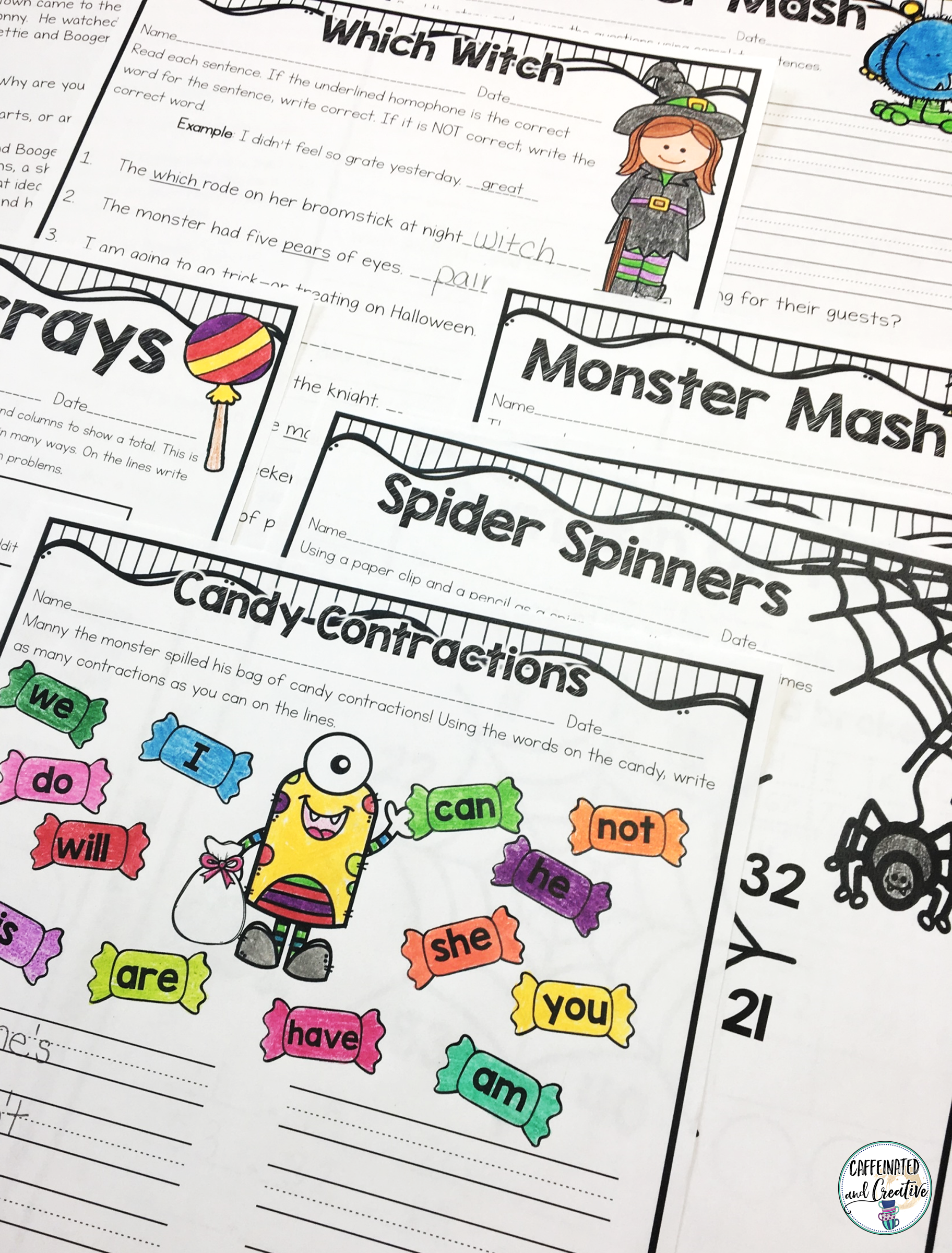 Halloween Literacy and Math Activities No Prep Second