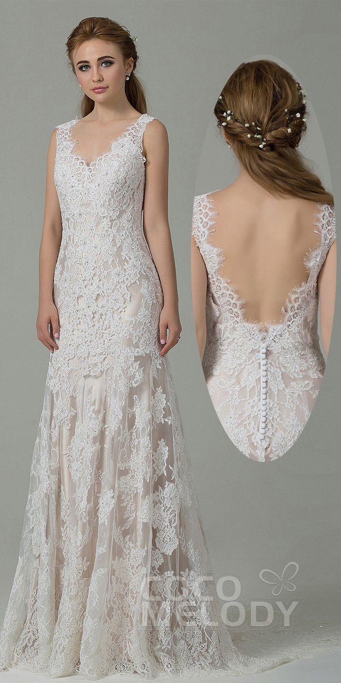 [ USD 549 ] SheathColumn SweepBrush Train Wedding Dress