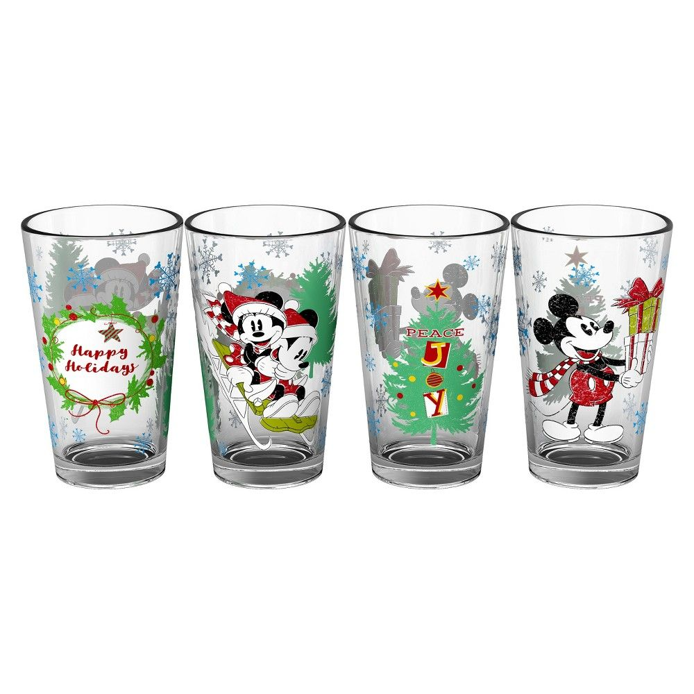 ad01670fa7b Mickey Mouse & Friends 16oz 4pk Holiday Pint Glasses - Zak Designs ...