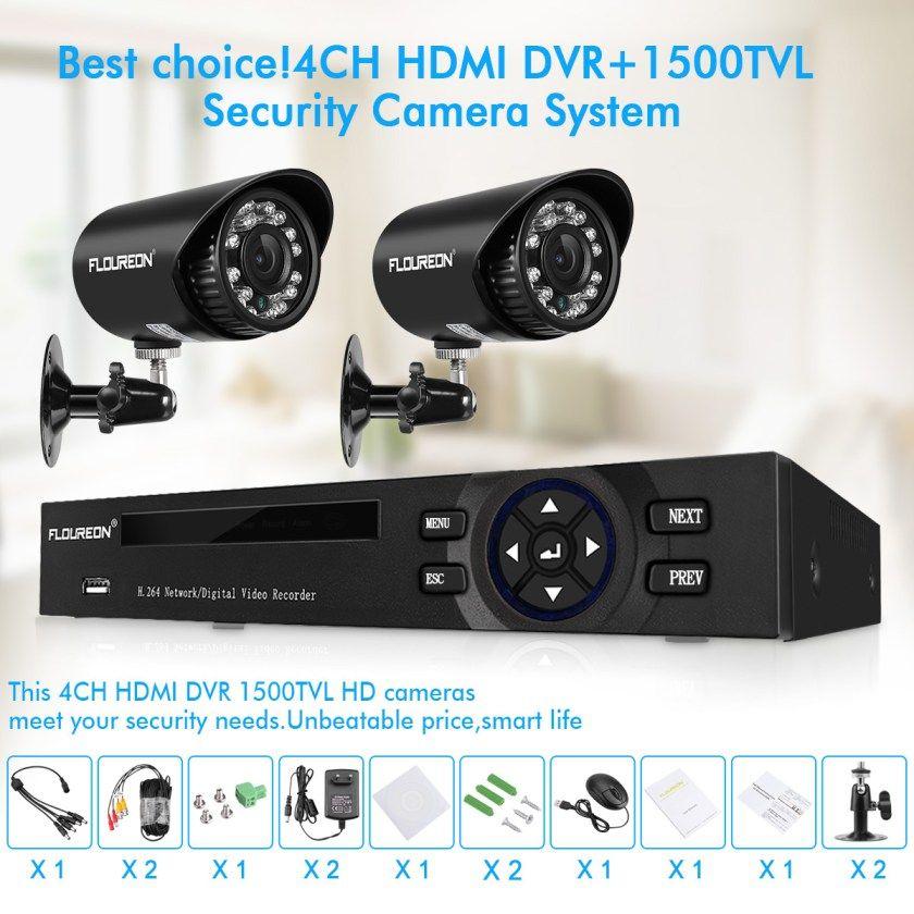 FLOUREON Smart 1080N 4CH DVR CCTV Security System 720P HD IR