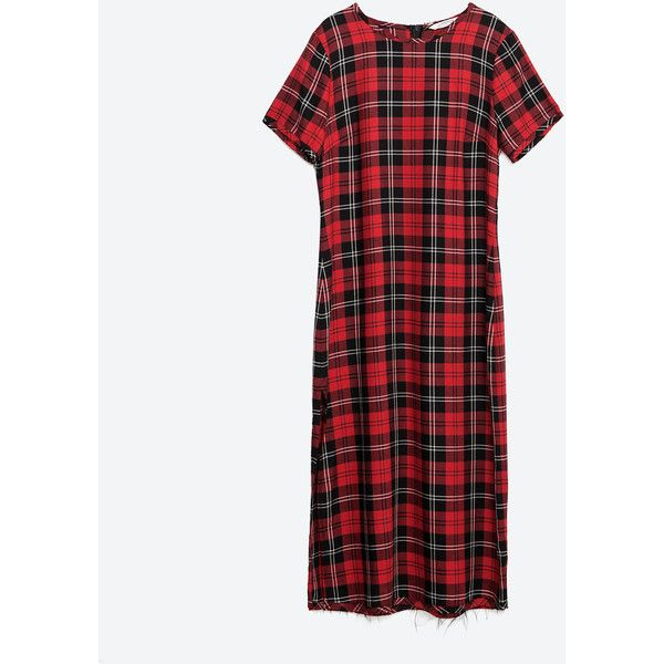 0226213b Zara Long Check Dress ($50) ❤ liked on Polyvore featuring dresses, red,  long white dress, checkered dress, zara dresses, long length dresses and red  dress