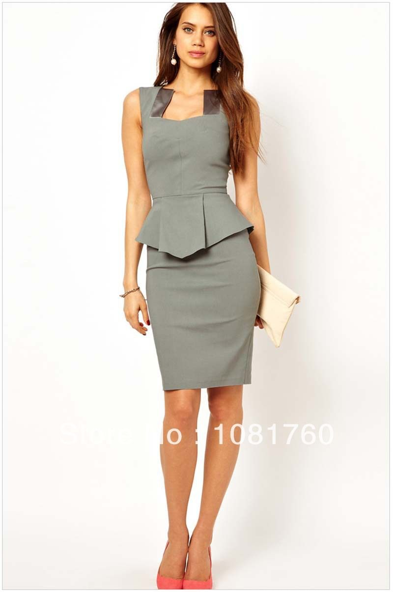 beb82e48e6 women business suits formal office suits work lotus leafs sweep career wear  round collar sleeve pencile grey center skirts-in Skirt Suits f.