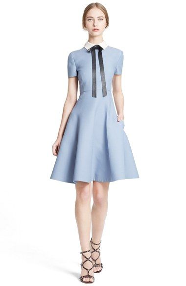 Valentino Bow Neck Short Sleeve A-Line Dress available at #Nordstrom