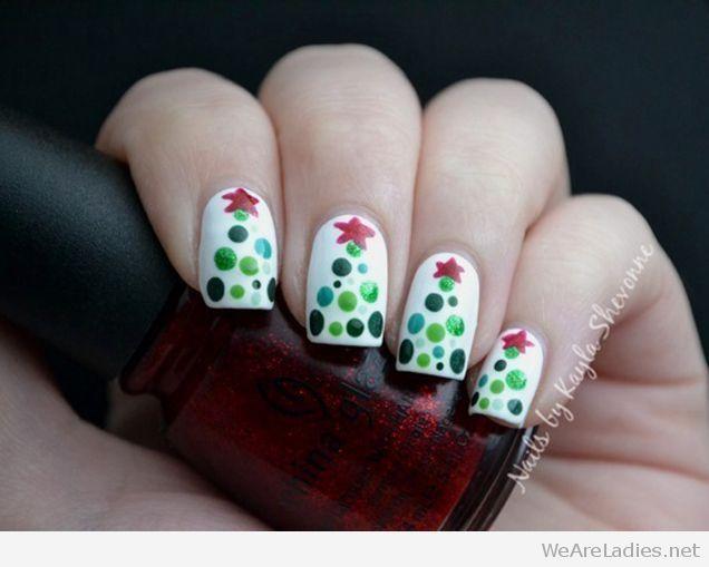 Christmas Tree Form Polka Dots Christmas Nails Tree Nails Holiday Nails