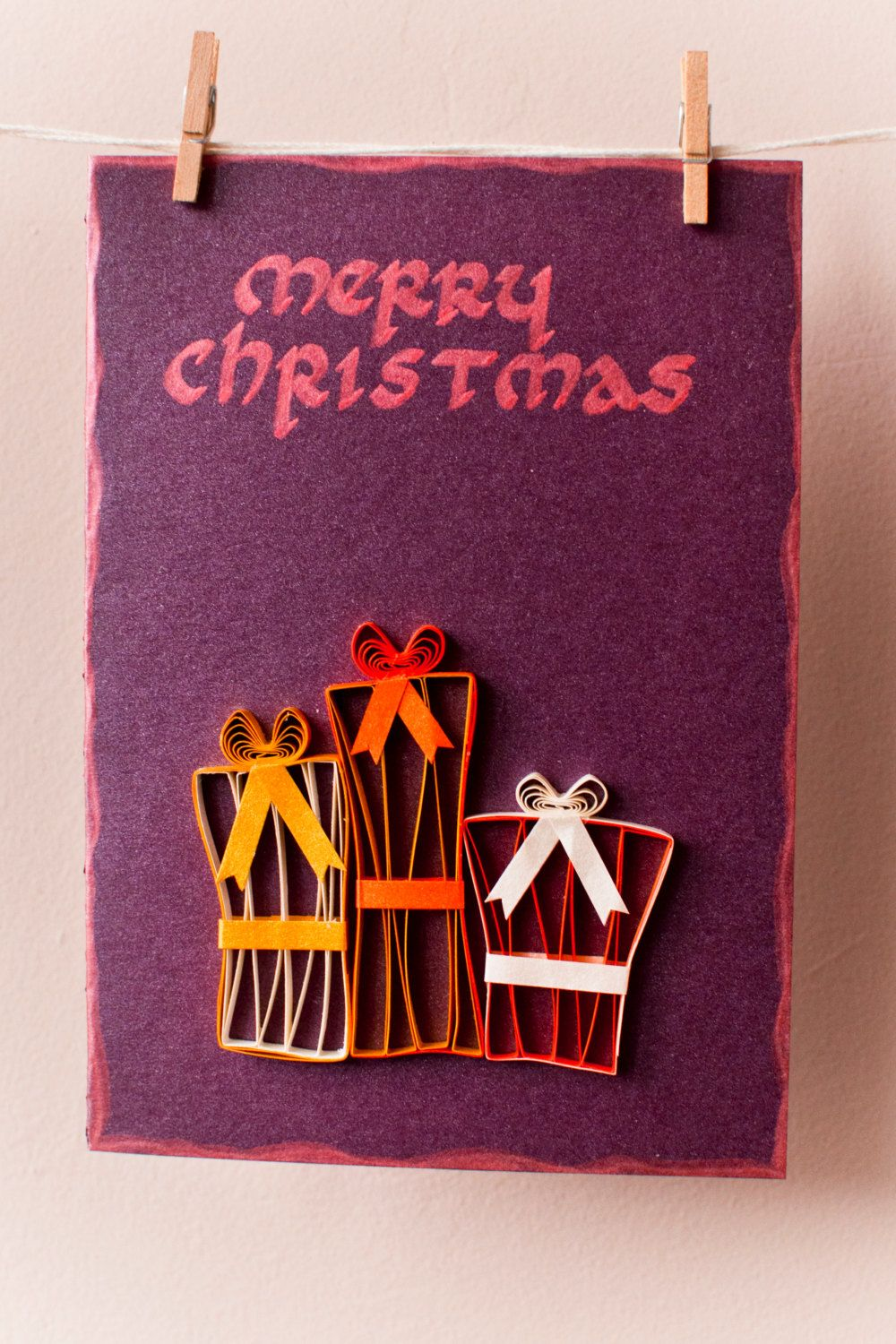 Quilled Merry Christmas Card With Christmas Presents Xmas Greeting
