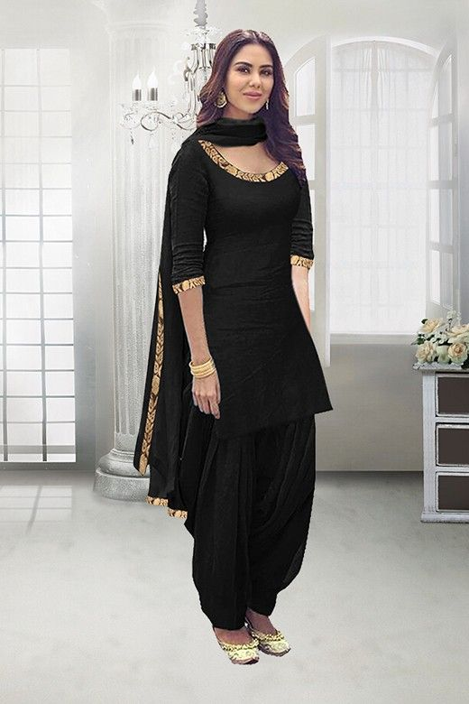 Party Wear Black Poly Cotton Patiyala Suit 71324b Patiyala Dress Patiala Suit Designs Patiala Dress
