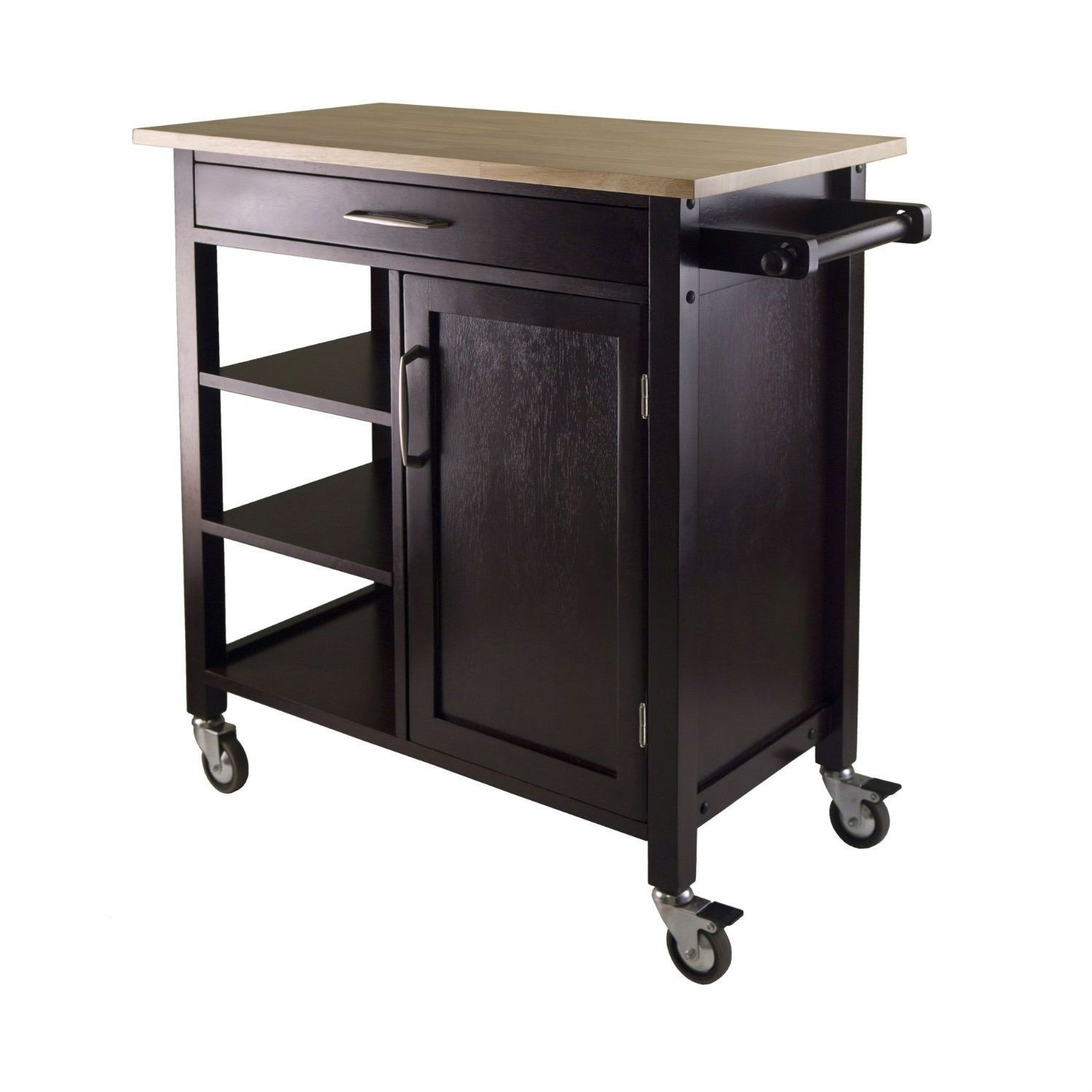 Mobile Kitchen Island Cart Wood Cabinet Storage Portable: Natural Wood Top Mobile Kitchen Cart In Espresso Finish