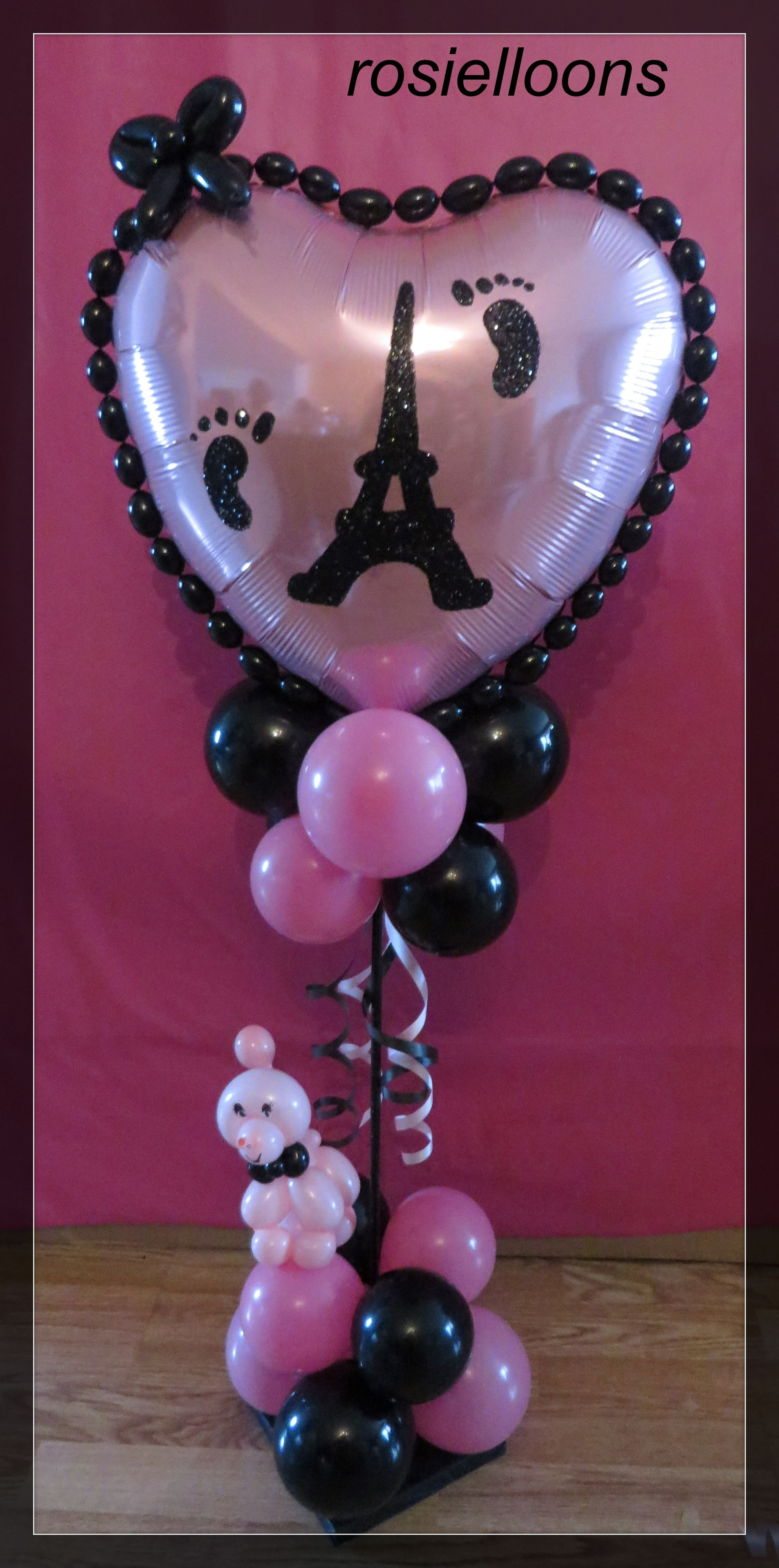 I Love Paris Theme Baby Shower Balloons; A Day In Paris Birthday Balloons; Eifel Tower Balloons; Bridal Shower Balloons; Wedding Balloons