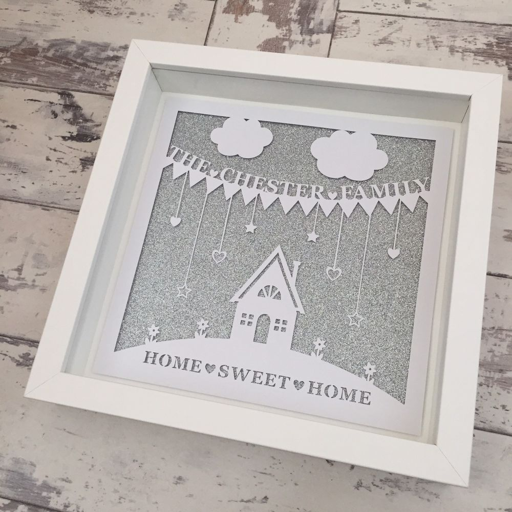 Personalised New Home Gifts Personalised New Home Papercut Box Frame New Home Gift Family