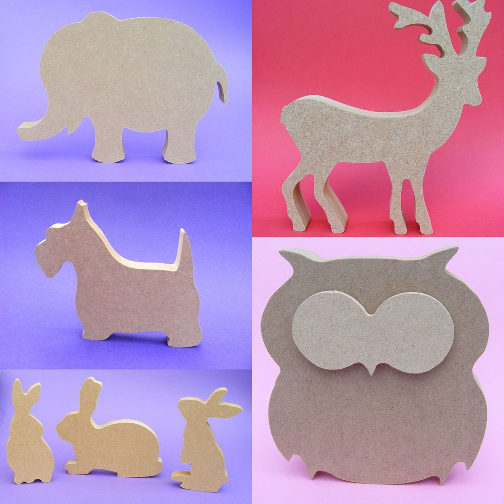 Details About Wooden Animal Shapes Thin And Thick