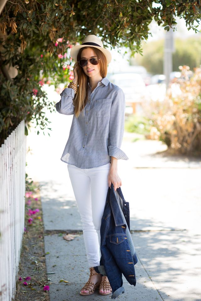California Tailor button up and white J.Crew jeans, M Loves M