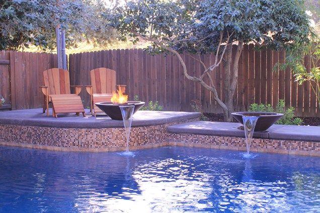 Pool Water Features Raised Bond Beam Swimming Pool Poseidon Pools Folsom Ca Backyard Ideas