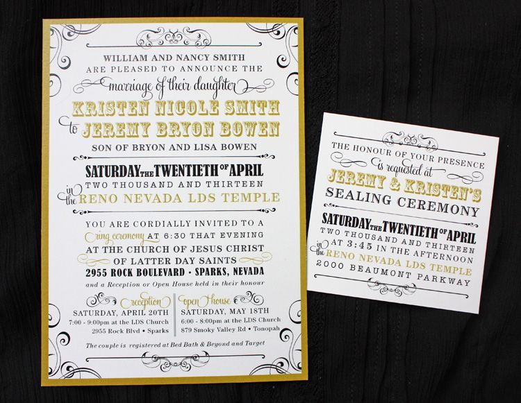Gold Black Vintage Steampunk Victorian Poster Style Lds Wedding Invtiations Invitation Wordinginvitation Ideasinvitestemple