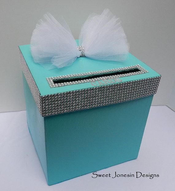 tiffany blue wedding card box bling mesh ribbon money holder, Baby shower invitation