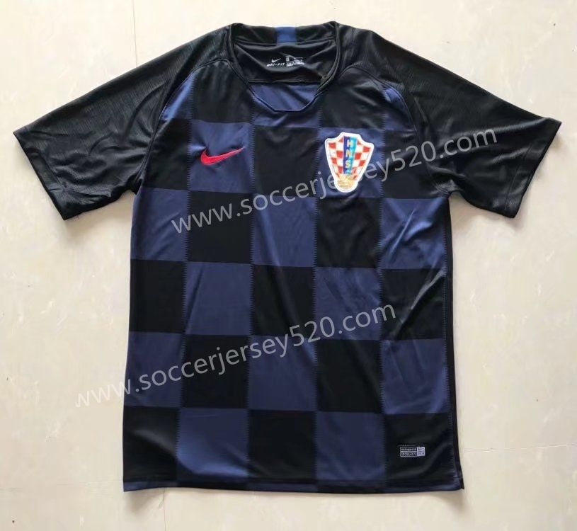 626358091 2018 World Cup Croatia Away Dark Blue Thailand Soccer Jersey AAA ...