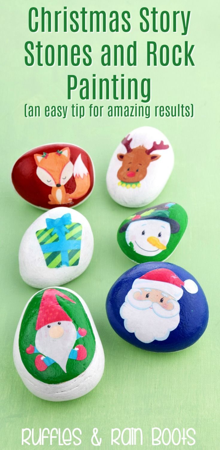 Easy Rock Painting Ideas With Christmas Story Stones And Clipart Rockpainting Storystones