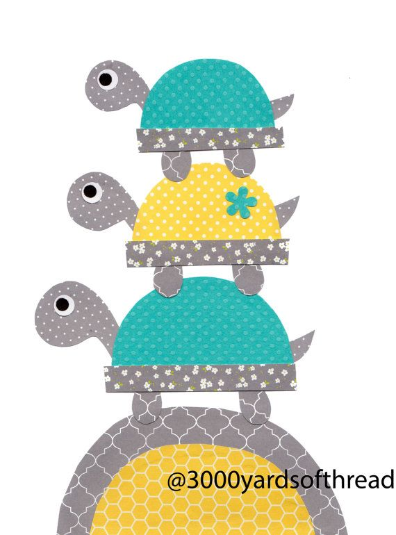 1504 Teal Yellow Grey Turtles on the Hill by 3000yardsofthread