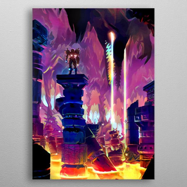 Metroid Prime Poster made out of metal Metroid Poster made out of metal design of