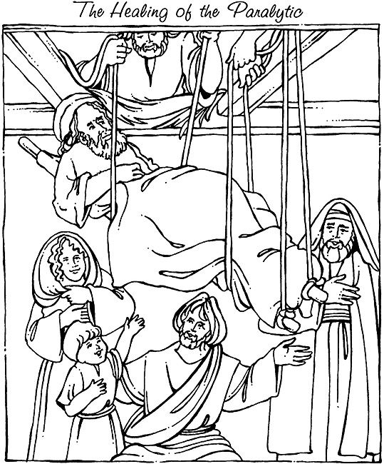 Mark 2 1 12 coloring sheets new testament 12 jesus for Jesus heals a paralytic coloring page