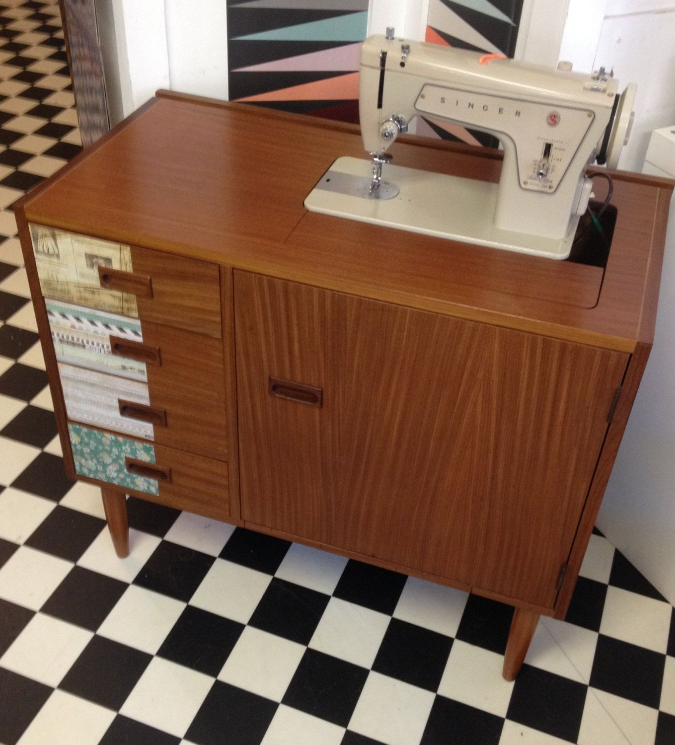 VINTAGE 60s Teak cabinet. Mid Century Retro sewing table side ...