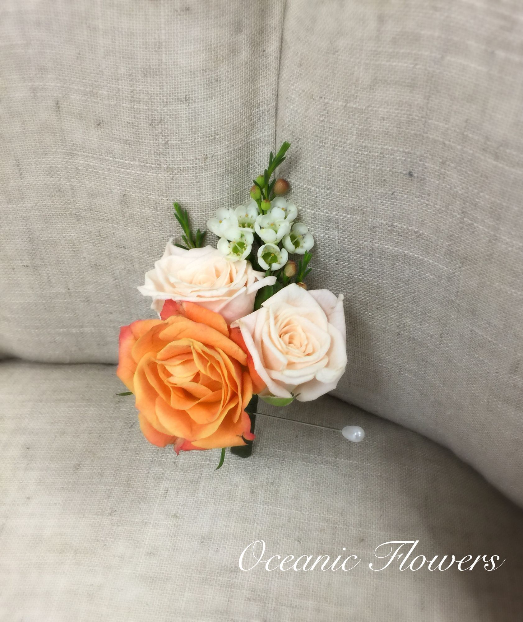 Peach Garden Rose Boutonniere peach and coral english spray roses grooms boutonnière