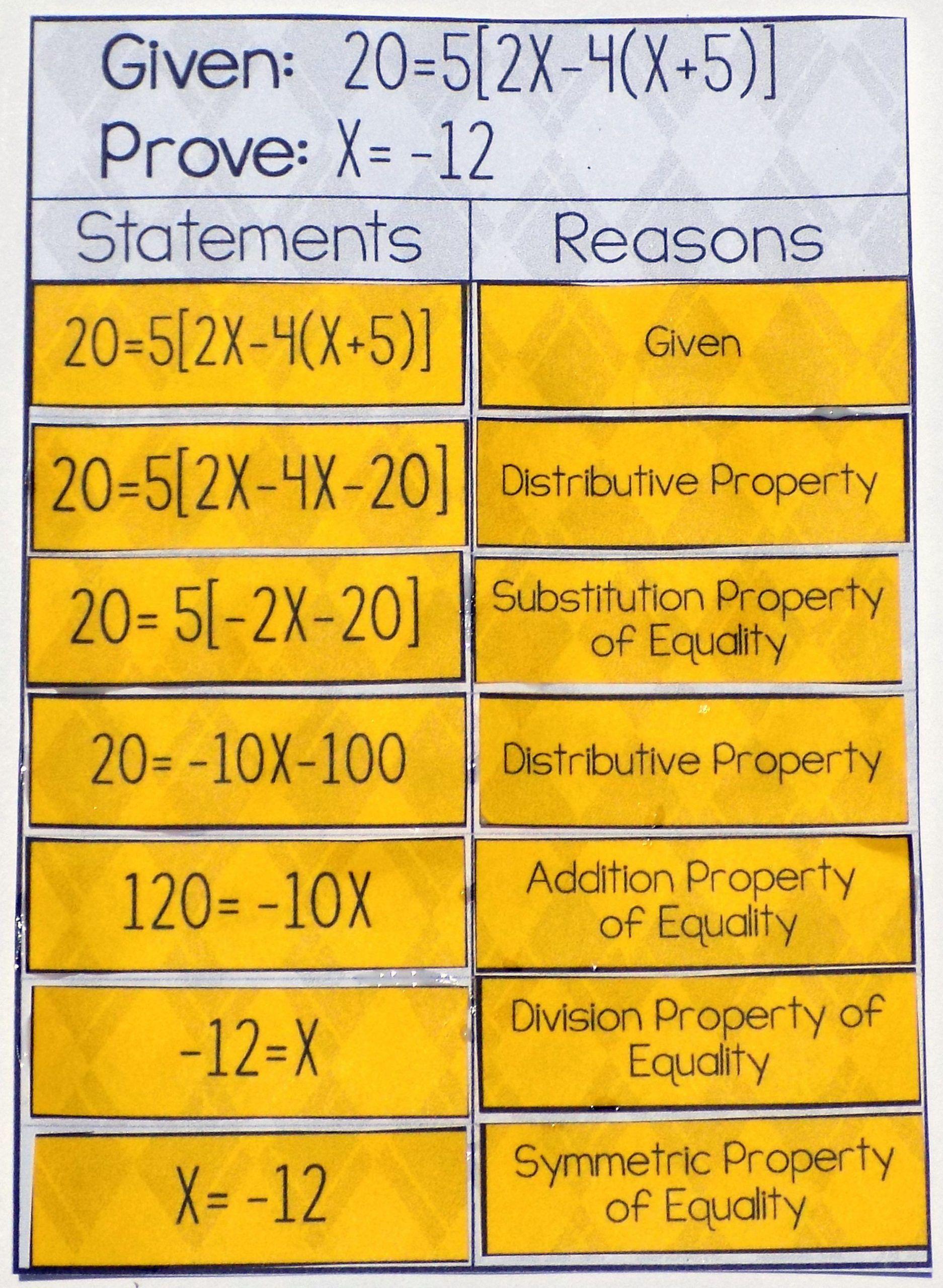 Algebraic Proofs Worksheet With Answers Algebraic Proof