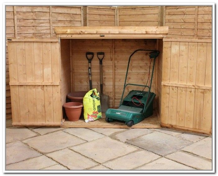 Garden storage box lawn mower garden tools pinterest for Garden shed for lawn mower