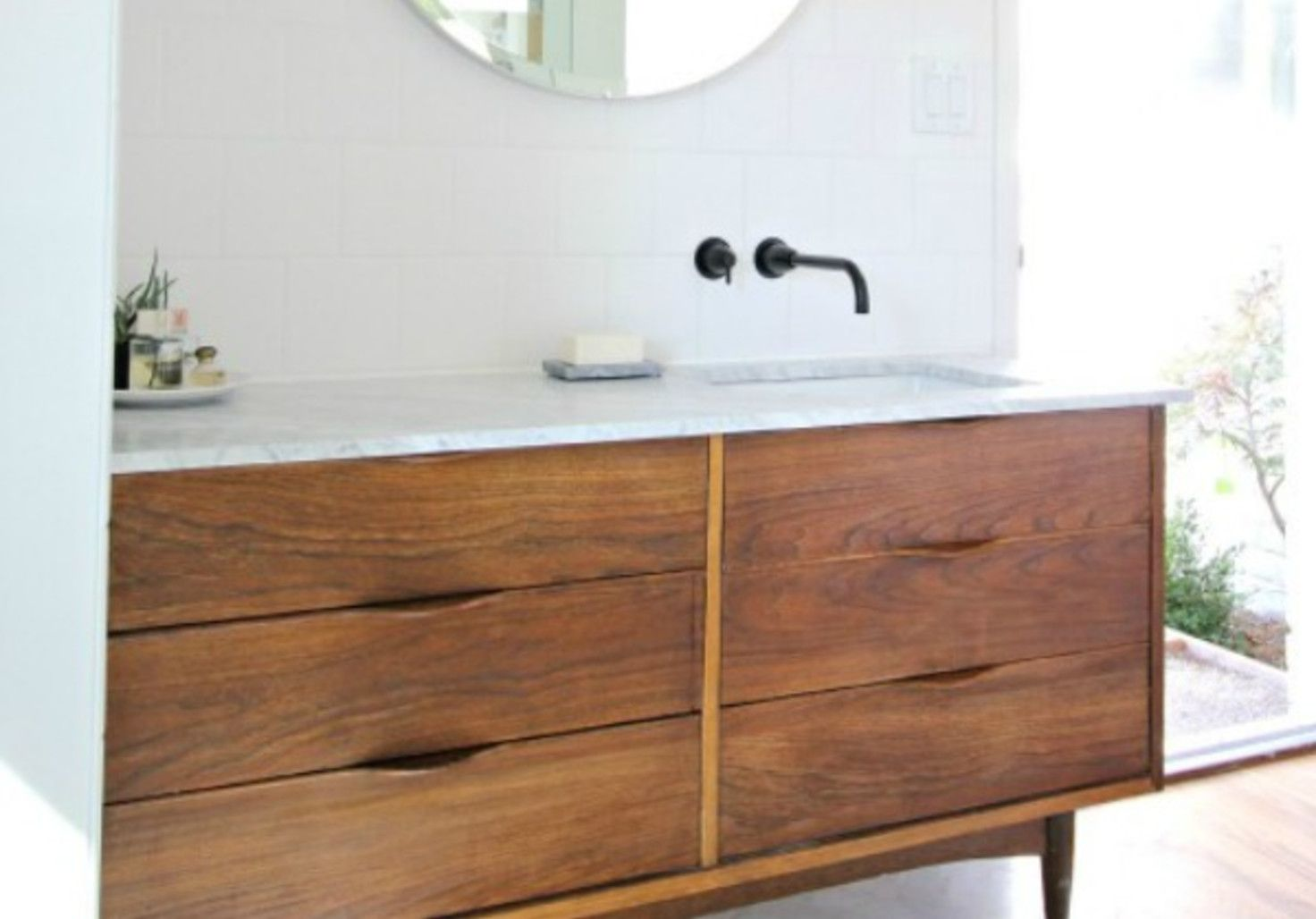Pair a vintage dresser with a modern top