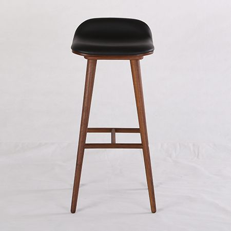 Renew Your Seating With The Lavish Leather Upholstery Of The Capa Bar Stool,  Black/Walnut From Life Interiors.