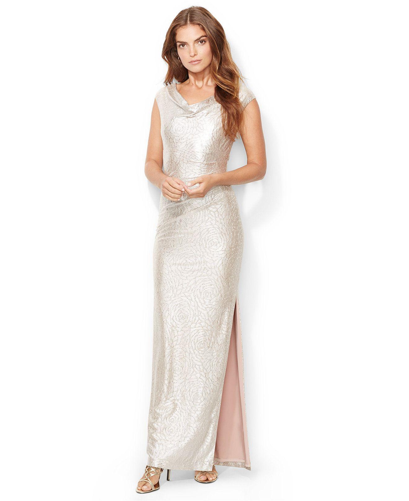 Lauren Ralph Lauren Cowl-Neck Metallic Gown - Dresses - Women ...