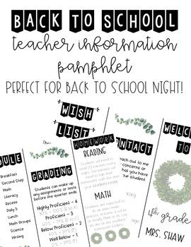 Back to School   Meet the Teacher   Farmhouse Themed   Information Pamphlet #meettheteacherideas