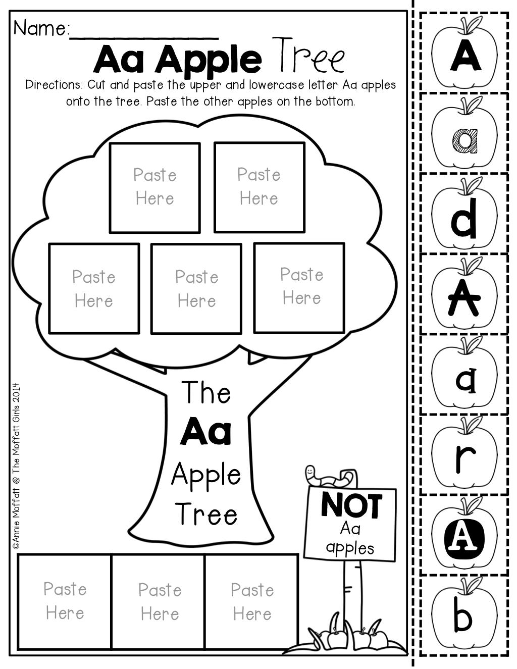 alphabet apple tree letter sort no prep packet reading in kindergarten cvc word families. Black Bedroom Furniture Sets. Home Design Ideas