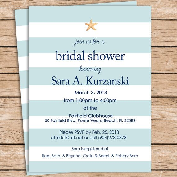 Beach Bridal Shower Invitations A photo Bridal shower and Note