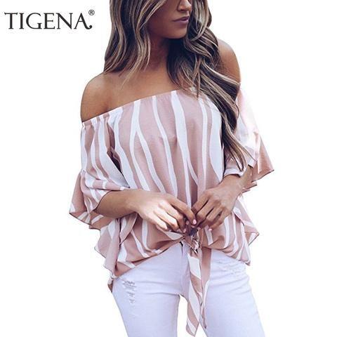 TIGENA Fashion Women Blouse 2018 Summer Off Shoulder Striped Chiffon Blouse  Shirt Women Top Female Femininas Chemise Femme Pink 88f0c6cbb5b4