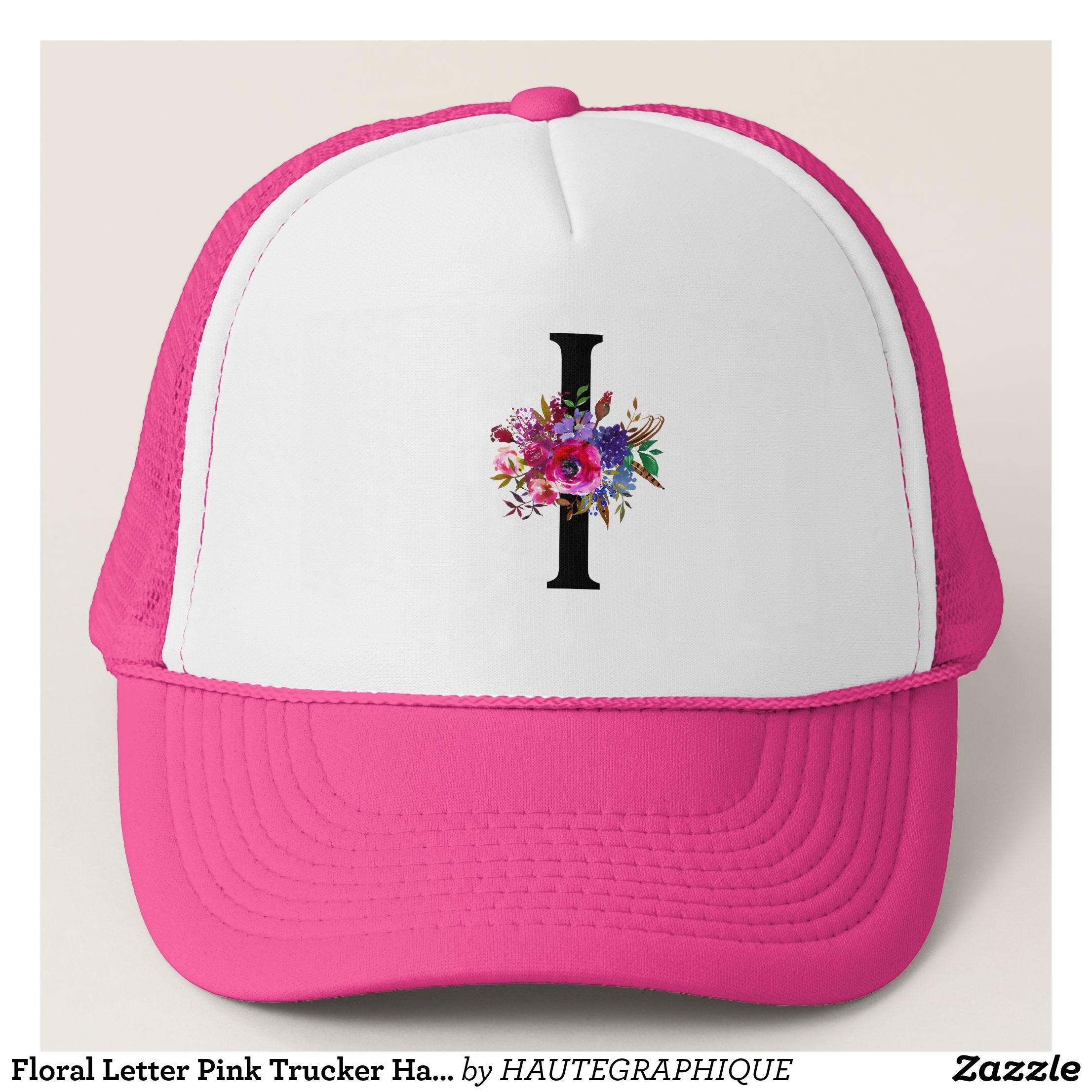 Floral Letter Pink Trucker Hat Wedding Zazzle Com Pink Trucker Hat Trucker Hat Floral Letters