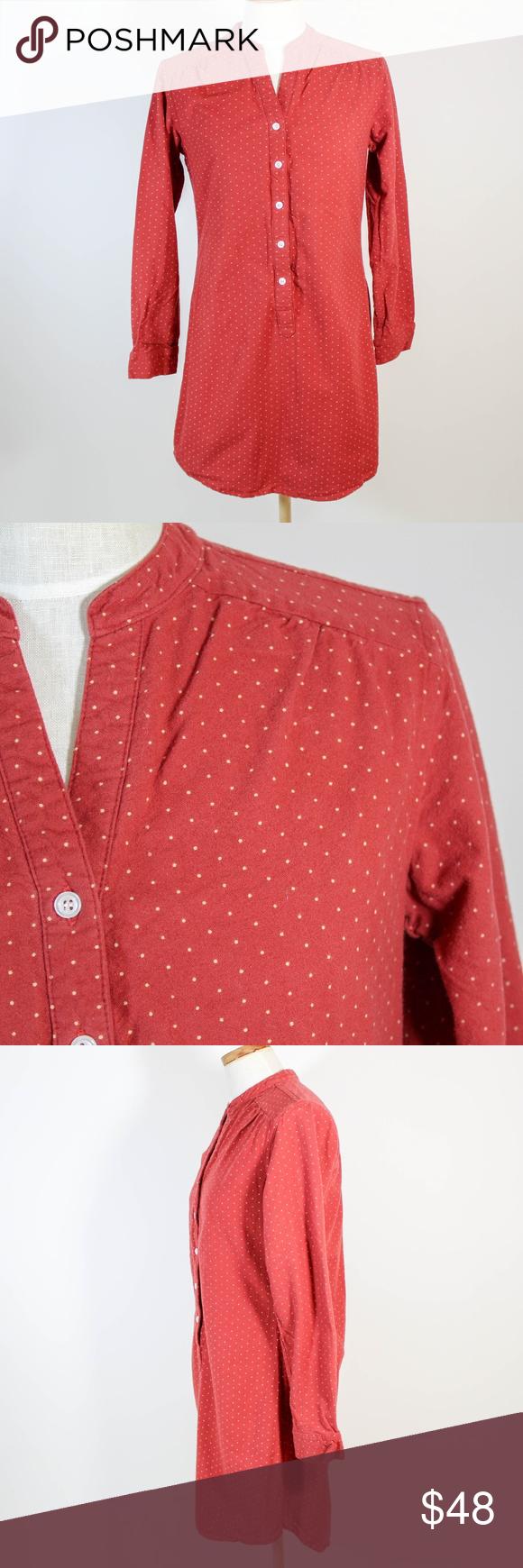 Bridge and burn red polka dot shirt dress flannel darkish red