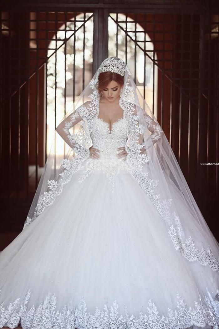 white princess ball gown long sleeves lace diamond wedding dress
