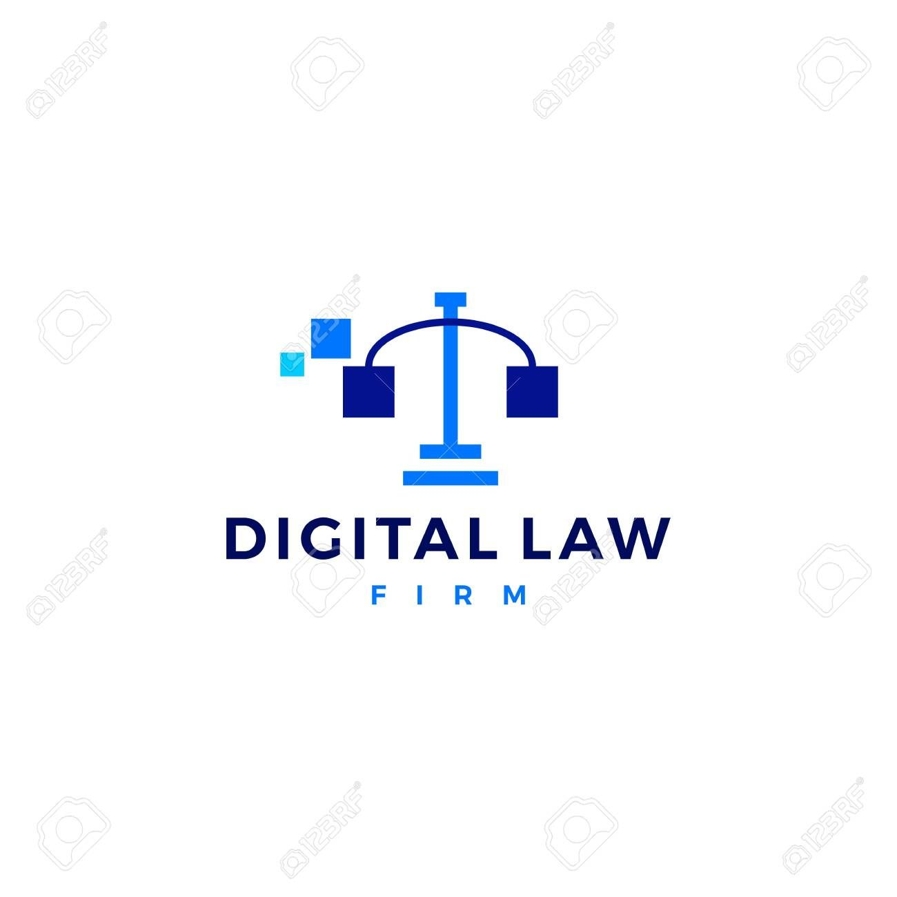 Digital Law Scales Of Justice Logo Vector Icon Sponsored