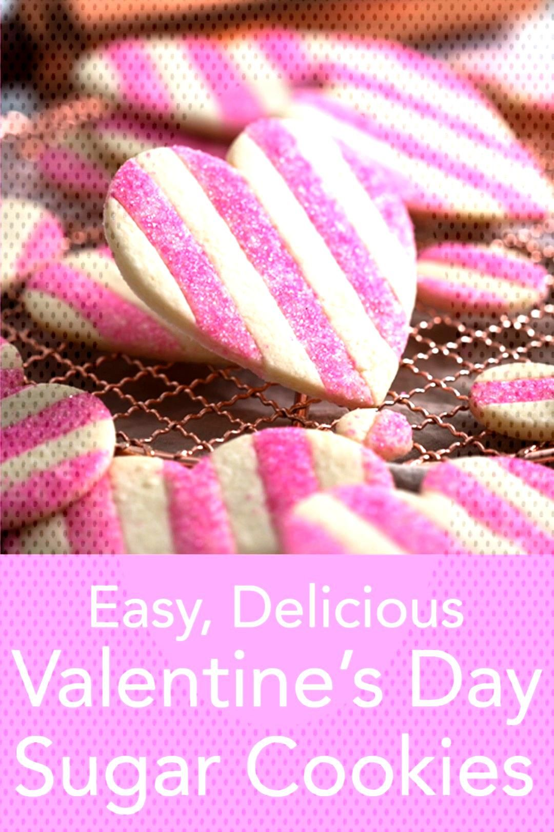 Valentine's Day Cookies  Beautiful striped pink and white heart-shaped Valentine cookies with a lit