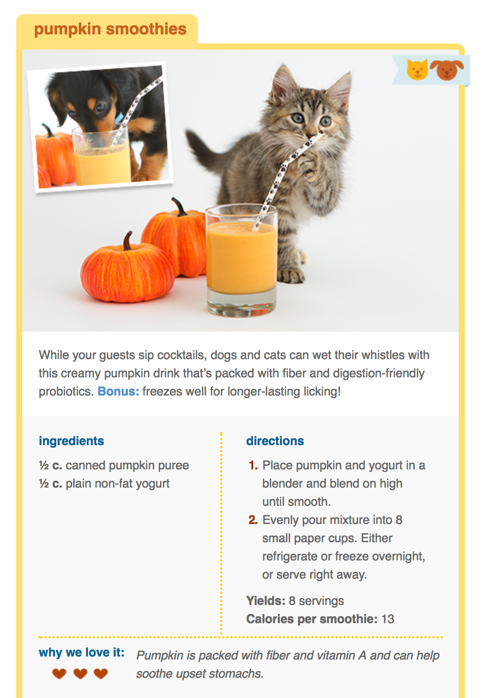 Pumpkin Smoothie Recipe For Pets Pumpkin Is Packed With Fiber And Vitamin A And Can Help Soo Thanksgiving Dog Treats Thanksgiving Treat Recipes Pumpkin Drinks
