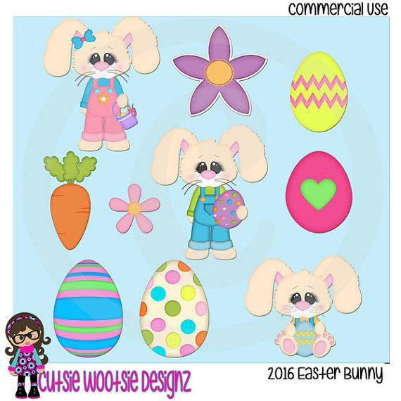 2016 Easter Bunny Clip art  Clipart Graphics  Commercial Use