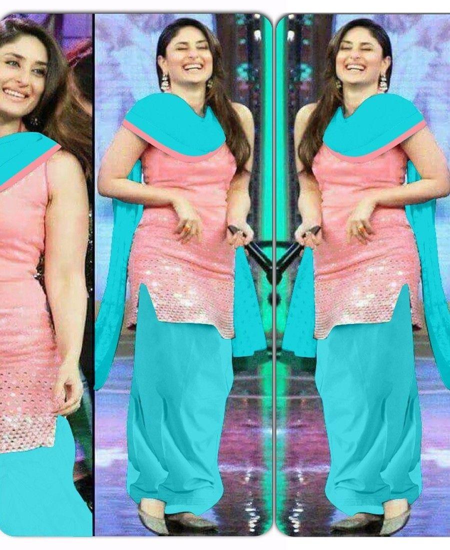 Kareena Kapoor Cotton Plastic Mirror Work Pink Unstitched Bollywood ...
