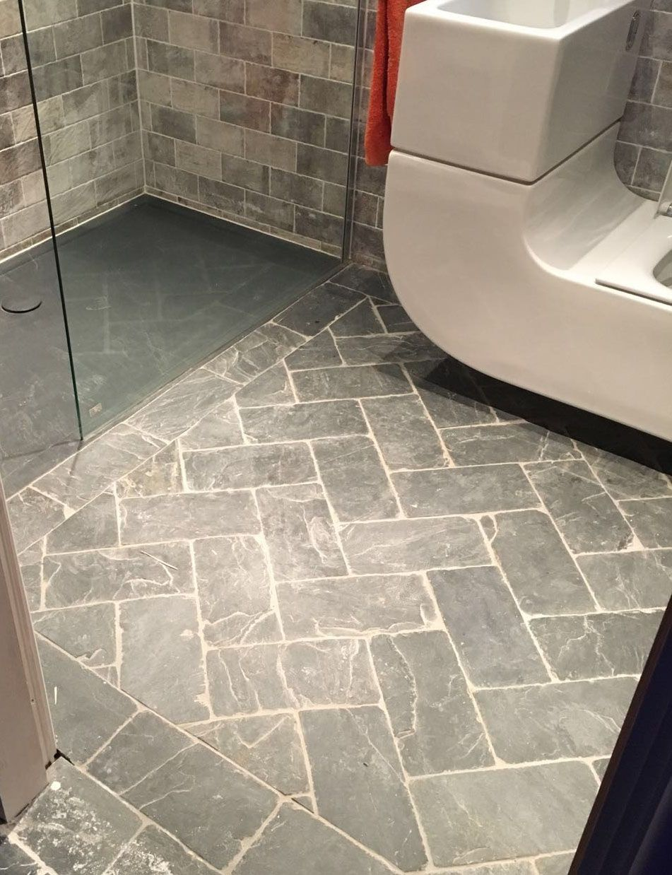 Slate herringbone grey tiles | Bathroom stone floor and wall tiles ...