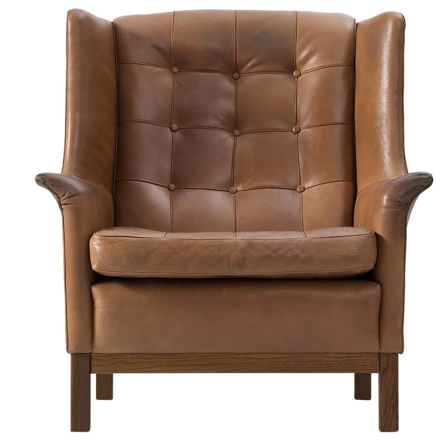 Best Arne Norell High Back Chair In Patinated Cognac Buffalo 640 x 480
