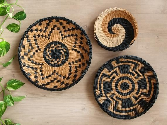 Set Of 3 Wall African Baskets Wall Wicker Decor Basket Woven Basket Bowl Boho Decor Small Africa Wal Baskets On Wall African Baskets African Baskets Wall